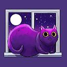 Lump in the Night (cat on windowsill) by rachelshneyer
