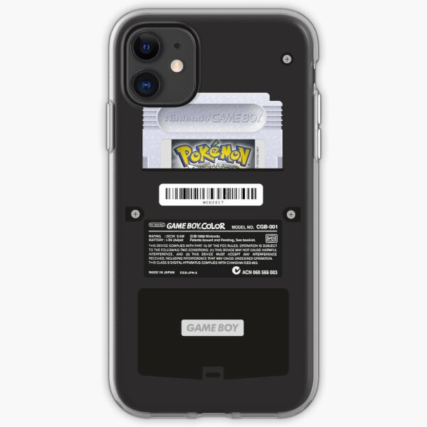 Black Gameboy Color - Silver Cartridge iPhone Soft Case