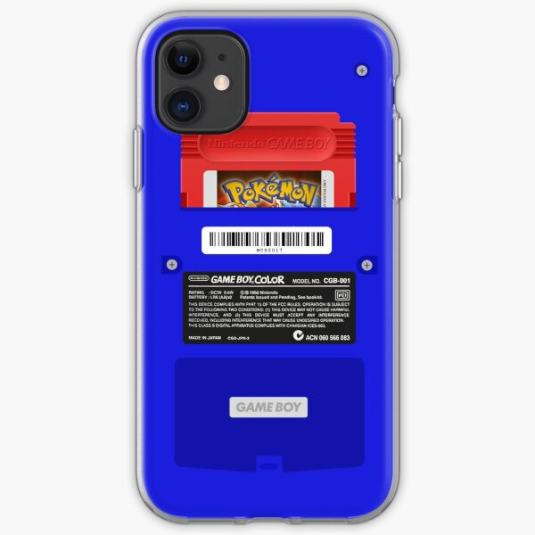 Blue GameBoy Color Back - Red Cartridge iPhone Soft Case