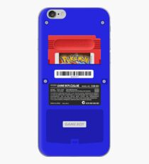 Blue GameBoy Color Back - Red Cartridge iPhone Case