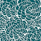 Hand-Drawn Pattern | Peacock Blue Doodle Pattern (White Lines) by coloringiship