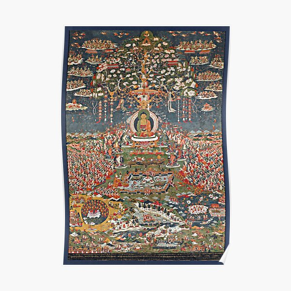 Amitabha, the Buddha of the Western Pure Land (Sukhavati) (Restored Tibetan Artwork) Poster