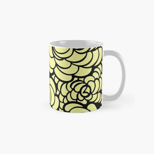 Hand-Drawn Pattern | Light Yellow Doodle Pattern (Black Lines) Classic Mug