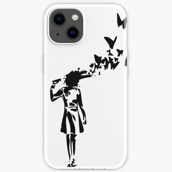 Banksy - Girl Shooting Her Head With Butterfly Design, Streetart Street Art, Grafitti, Artwork, Design For Men, Women, Kids iPhone Soft Case