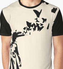 Banksy - Girl Shooting Her Head With Butterfly Design, Streetart Street Art, Grafitti, Artwork, Design For Men, Women, Kids Graphic T-Shirt