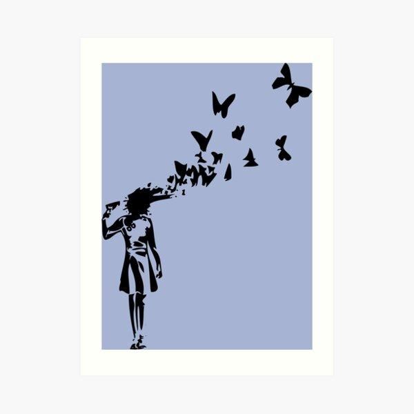 Banksy - Girl Shooting Her Head With Butterfly Design, Streetart Street Art, Grafitti, Artwork, Design For Men, Women, Kids Art Print