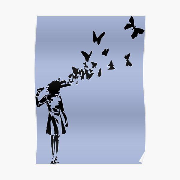 Banksy - Chica disparando su cabeza con diseño de mariposa, Streetart Street Art, Grafitti, Obra de arte, Diseño para hombres, mujeres, niños Póster