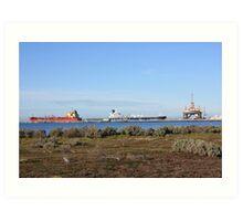 Ships and Oil Rig , Corio Bay, Geelong Art Print