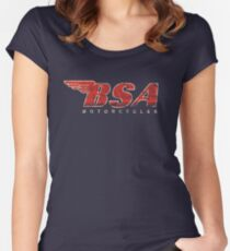 BSA Motorcycle Distressed Design Logo T Shirt Fitted Scoop T-Shirt