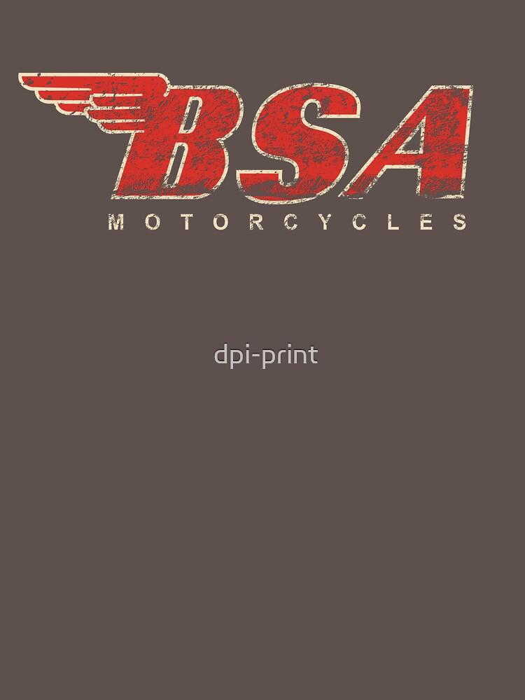 BSA Motorcycle Distressed Design Logo T Shirt by dpi-print