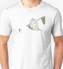 Butterfly Chasing Man With Large Net Unisex T-Shirt