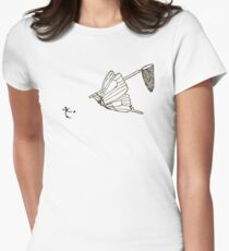 Butterfly Chasing Man With Large Net Women's Fitted T-Shirt