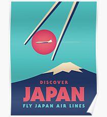 Retro Japan Tourism Mt Fuji Sushi Chopsticks - Cyan Poster