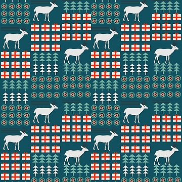 Cheerful Christmas pattern with deer by cocodes