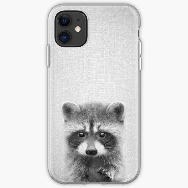 Raccoon - Black & White iPhone Soft Case