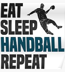 Handball Eat Sleep T-Shirt - Cool Funny Nerdy Comic Graphic Heartbeat Handballer Handball Player Men's Team Coach Team Humor Saying Sayings Shirt Tee Gift Gift Idea Poster