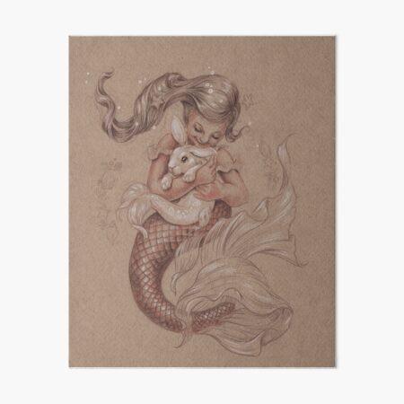 Mermaid with her pet Merbunny  Art Board Print