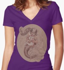 Mermaid with her pet Merbunny  Women's Fitted V-Neck T-Shirt