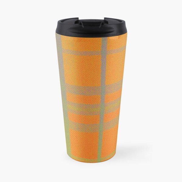 Orange Tartan Travel Mug