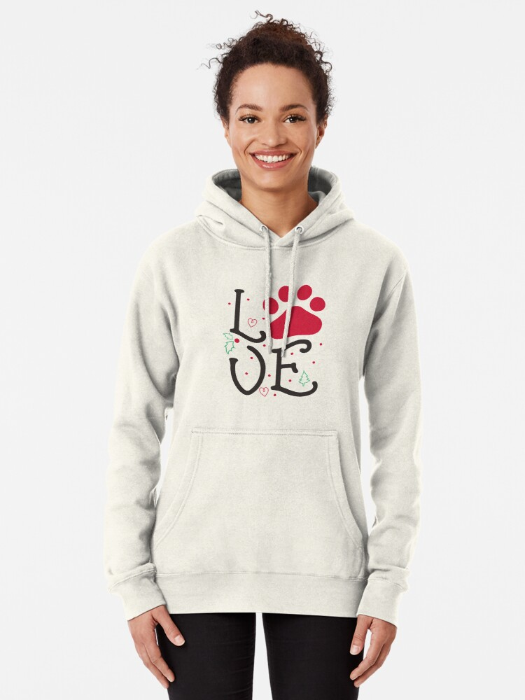 'Love With Dog Paw Print & Christmas Tree T-Shirt' T-Shirt by Dogvills