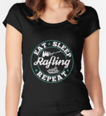 Rafting Eat Sleep T-Shirt - Cool Funny Nerdy Comic Graphic Whitewater Raftingtour Men's Team Coach Team Humor Saying Sayings Shirt Tee Gift Gift Idea Women's Fitted Scoop T-Shirt