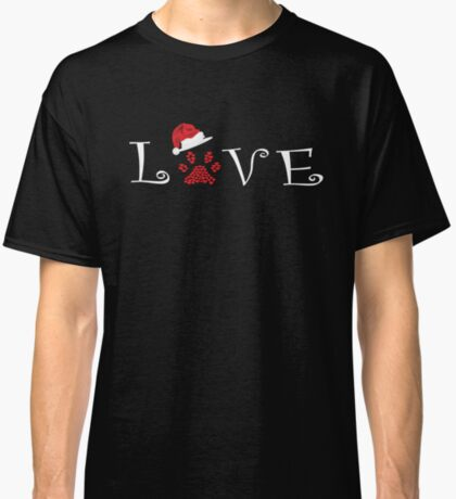 Love with Paw and Christmas Hat Classic T-Shirt