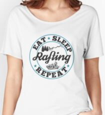 Rafting Eat Sleep T-Shirt - Cool Funny Nerdy Comic Graphic Whitewater Raftingtour Men's Team Coach Team Humor Saying Sayings Shirt Tee Gift Gift Idea Women's Relaxed Fit T-Shirt