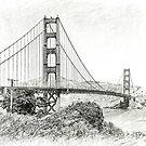 Decorative Bandw Stylised Image Of The Golden Gate Bridge, San Francisco by mcworldent