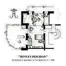 Floorplan of Joe Bradley's apt. from ROMAN HOLIDAY by Iñaki Aliste Lizarralde