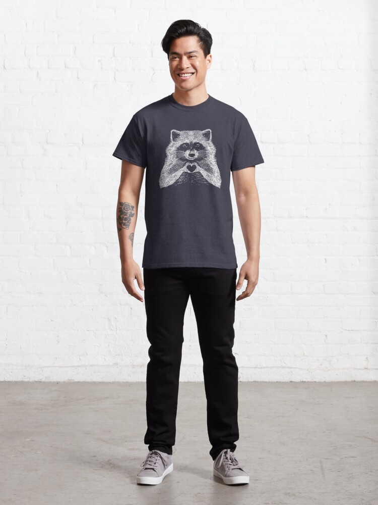 Alternate view of Love Raccoon - Animal Theme Design Suitable for Men and Women Classic T-Shirt