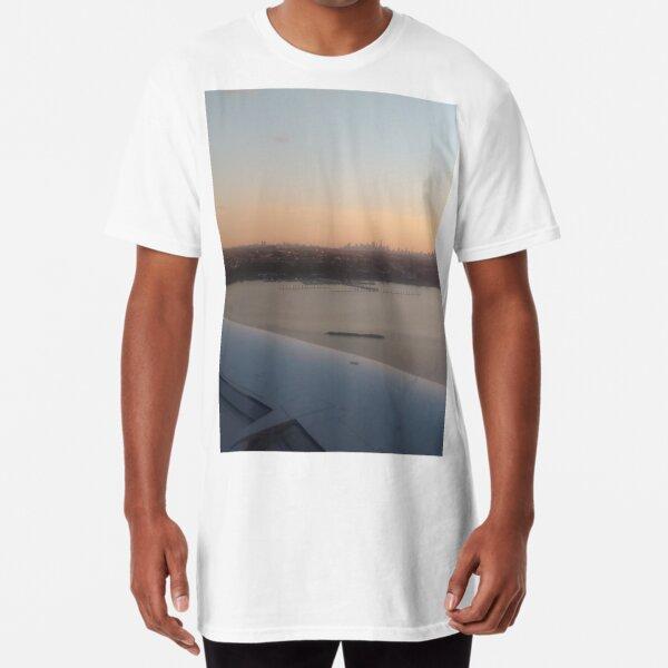 #Port, #crane, #ship, #industry, #sea, #cargo, #harbor, #dock, #shipping, #industrial, #night, #container, #water, #transportation, #transport, #cranes, #boat, #sky, #harbour, #nightlight, #reflection Long T-Shirt