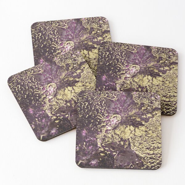 Two purple leaves in melted gold Coasters (Set of 4)