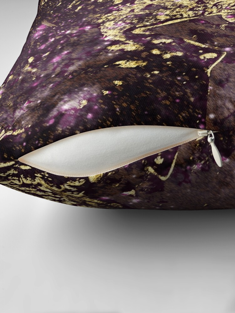 Alternate view of Two purple leaves in melted gold Throw Pillow