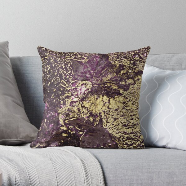 Two purple leaves in melted gold Throw Pillow