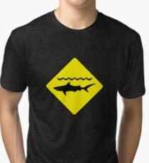 'Warning, sharks' sign T-shirt Tri-blend T-Shirt