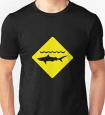 'Warning, sharks' sign T-shirt Unisex T-Shirt