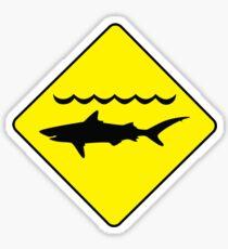 'Warning, sharks' sign T-shirt Sticker