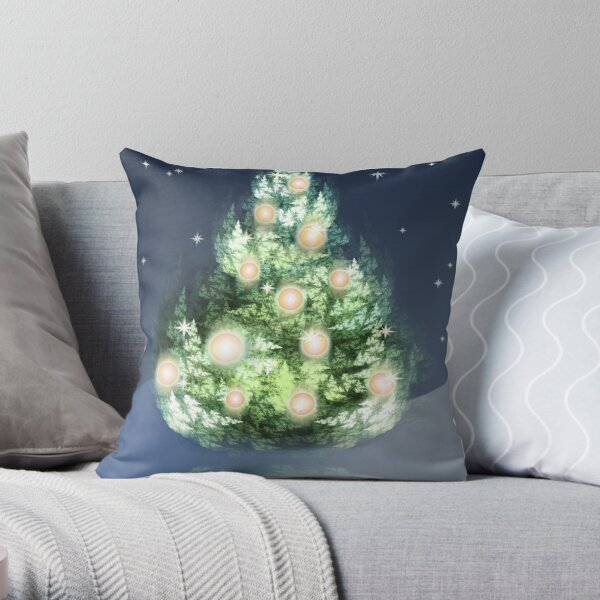 Fractal Christmas Tree Throw Pillow