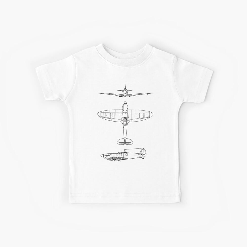 Supermarine, Spitfire, Supermarine, Spitfire, Luchador, WWII, 1942, Luchador, WWII, 1942, Negro sobre blanco Camiseta para niños