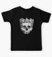 SKULL KING, DEATH, King of the Dead, Skull, Crown, on BLACK Kids Tee