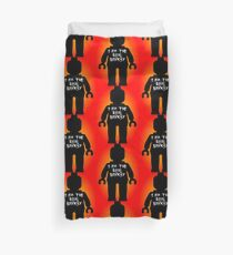 """Black Minifig with """"I am the Real Banksy"""" slogan by Customize My Minifig Duvet Cover"""