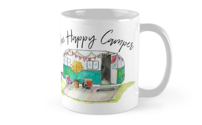 Happy Camper-Vintage Camper Watercolor by Jeri Stunkard