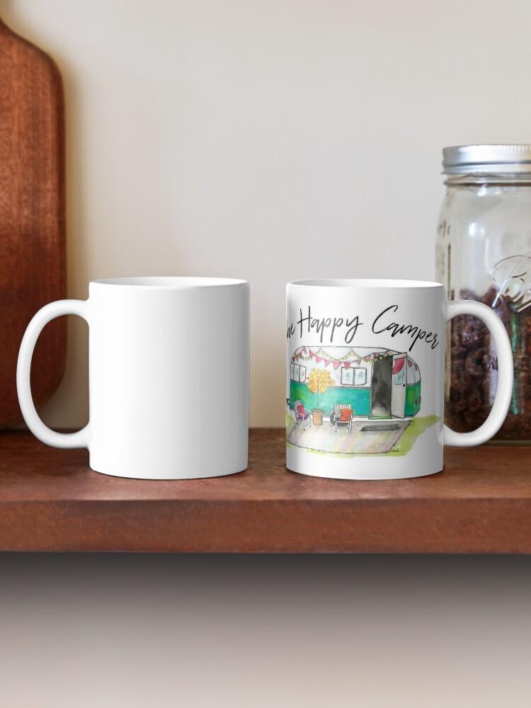 Alternate view of Happy Camper-Vintage Camper Watercolor Mug