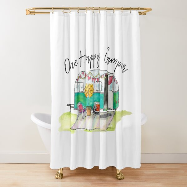 Happy Camper-Vintage Camper Watercolor Shower Curtain