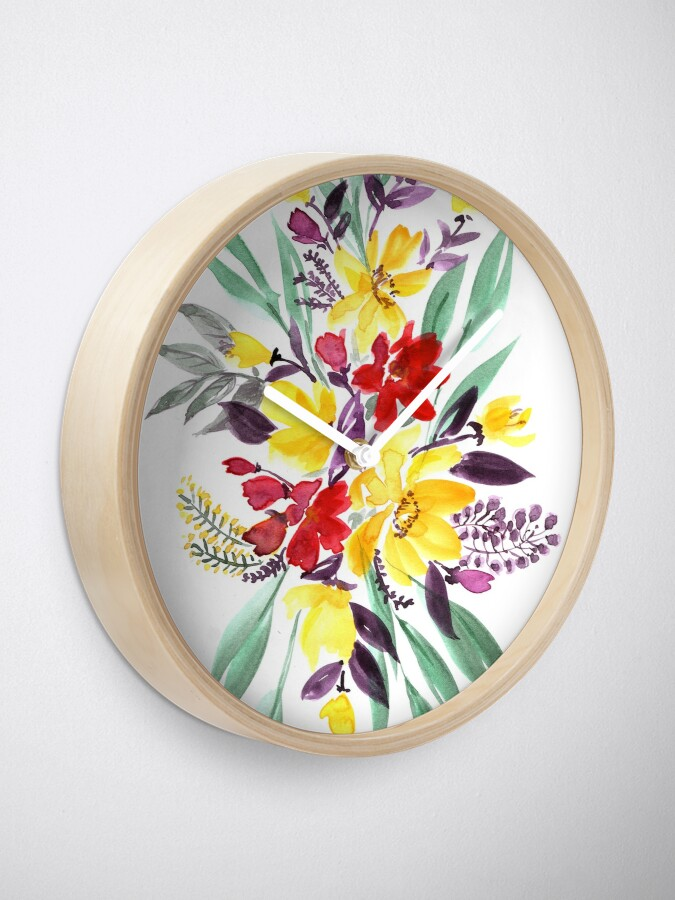 "Alternate view of Floral bouquet in fall colors ""Eloisse"" Clock"