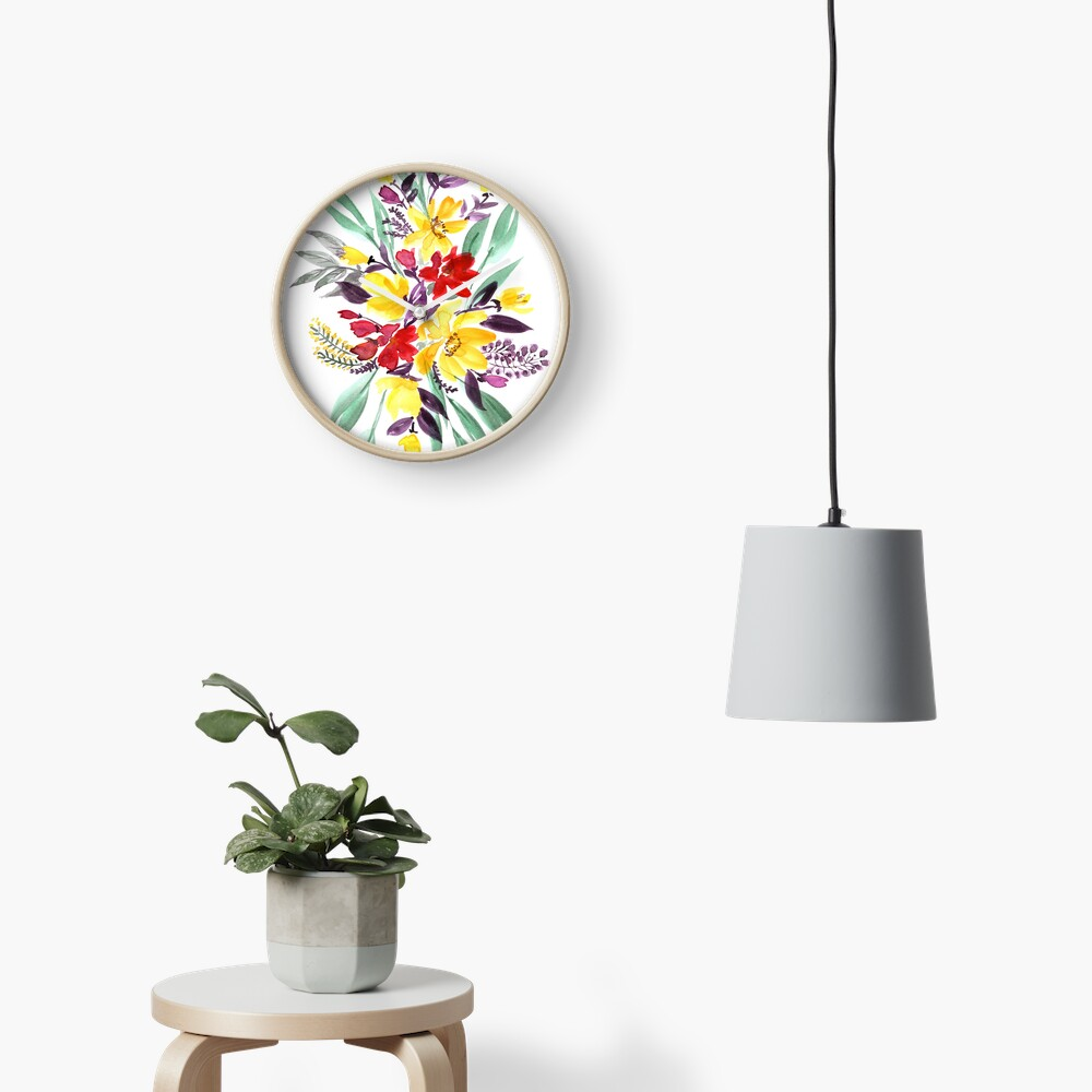 "Floral bouquet in fall colors ""Eloisse"" Clock"
