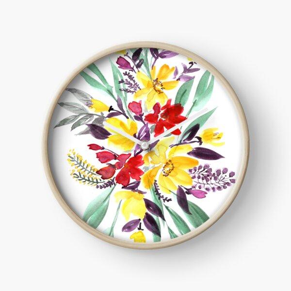 "Floral bouquet in fall colors ""Eloisse"" Clock"