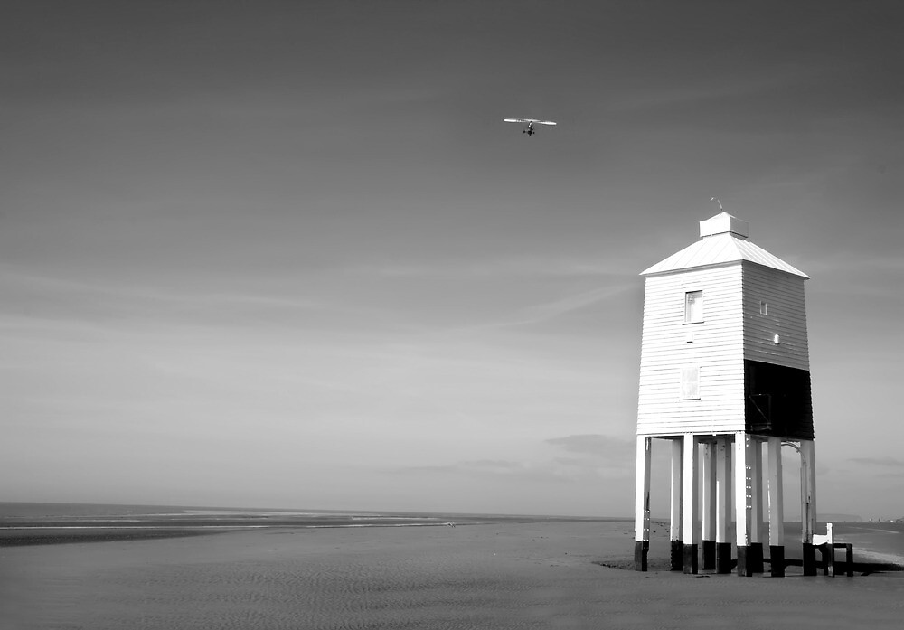Lighthouse and Microlight by Dave Hayward