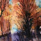 Sunset boulevard - watercolor by Alessandro Andreuccetti
