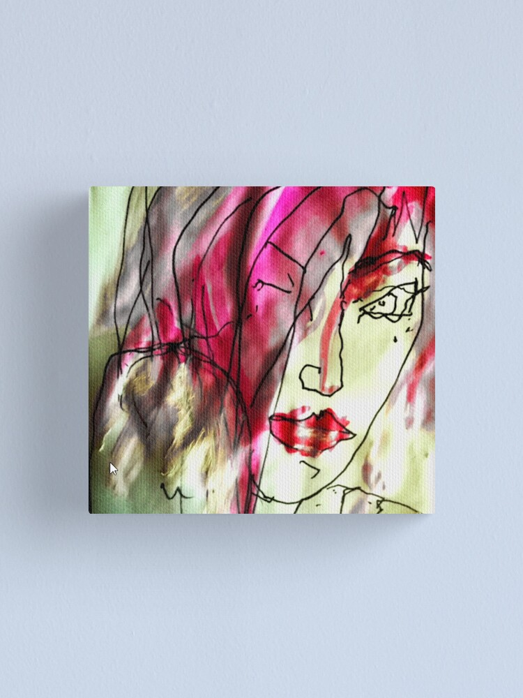 Alternate view of Portrait of a woman. Watercolor in pink - She's Frightened of the Strangest Things Canvas Print